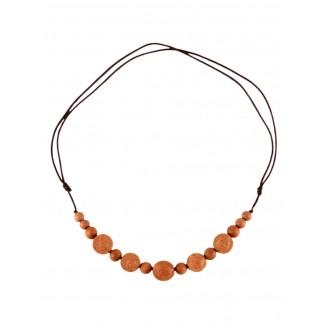 Mittelalter Halskette Angaras aus Sandelholz in Beige Frontansicht