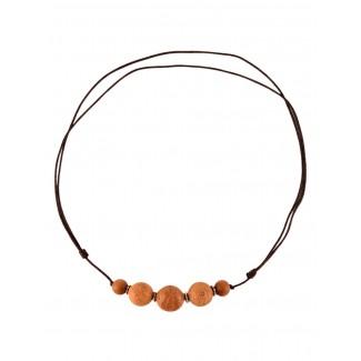 Mittelalter Halskette Kardas aus Bodhisamen in Beige Frontansicht