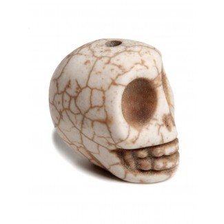Piraten Totenkopf-Perle Karhet aus Resin in Beige Seitenansicht