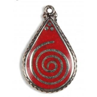 Kelten Anhänger Sulis (Spirale) in Rot Frontansicht