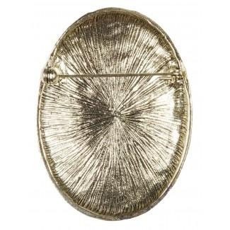 Wikinger Brosche Clarmine in Goldgelb Rückansicht