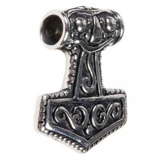 Wikinger Anhänger Mjölnir (Thors Hammer) aus Metall in Silbern Seitenansicht