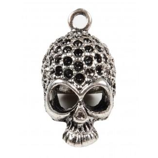 Piraten Anhänger Aude (Totenkopf) aus Metall in Silbern Frontansicht