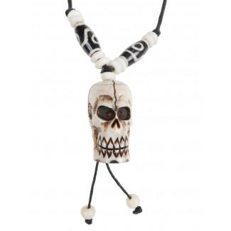 Piraten Halskette Iwert (Totenkopf) aus Resin in Beige Frontansicht