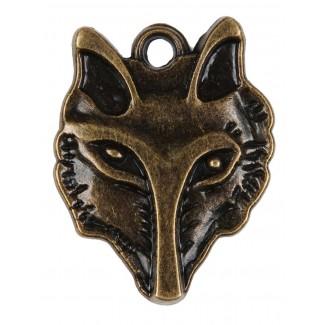 Mittelalter Anhänger Lupus (Wolf) aus Metall in Goldgelb Frontansicht