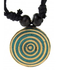Wikinger Halskette Sinthgunt mit Kreis Anhänger in Türkis Frontansicht