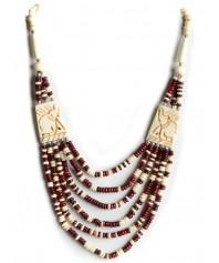 Perlenkette Duzisamor rot-weiß