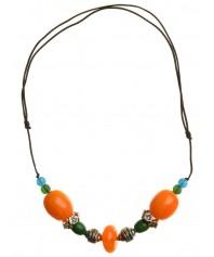 Mittelalter Halskette Sol aus Weißmetall-Resin in Bernsteinfarben-Grün Frontansicht