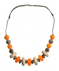 Mittelalter Halskette Syn aus Weißmetall-Resin in Bernsteinfarben-Weiß Frontansicht