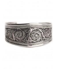Mittelalter Armreif Presine aus Weißmetall in Silbern Frontansicht