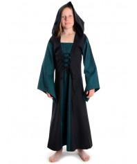 Mittelalter Kinderkleid mit Gugel Kapuze in schwarz, grün, rot, blau, braun und weiss