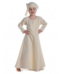 Mittelalter Kinderkleid Geirdriful in Beige Frontansicht